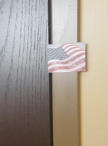 close up of american flag sticker